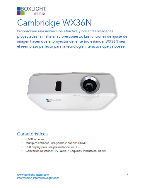 Catalogo Boxlight WX36N