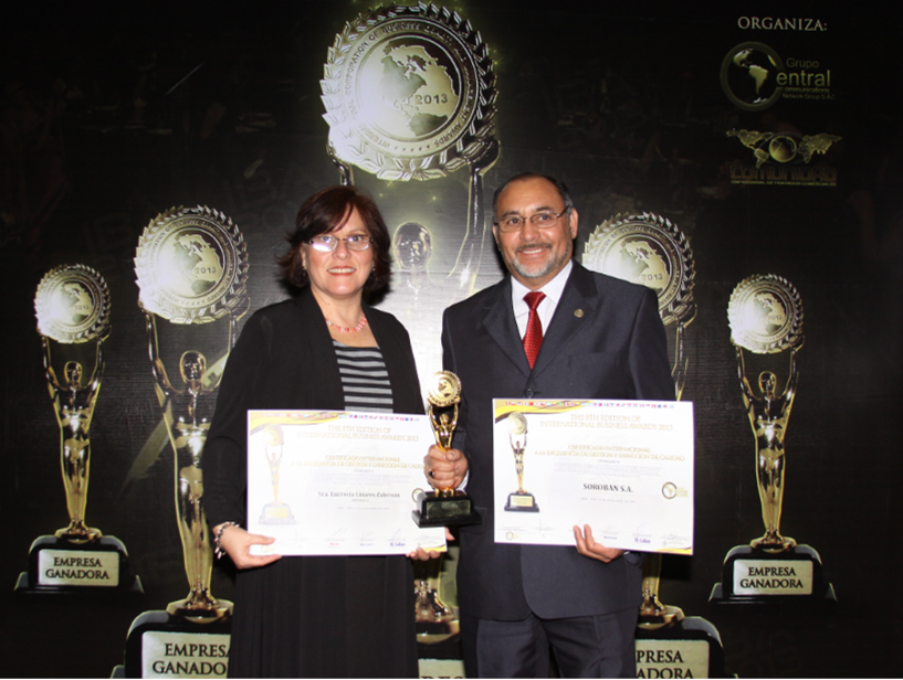 "Premiación a SOROBAN en ""The 8th Edition Of International Business Awards 2013"""