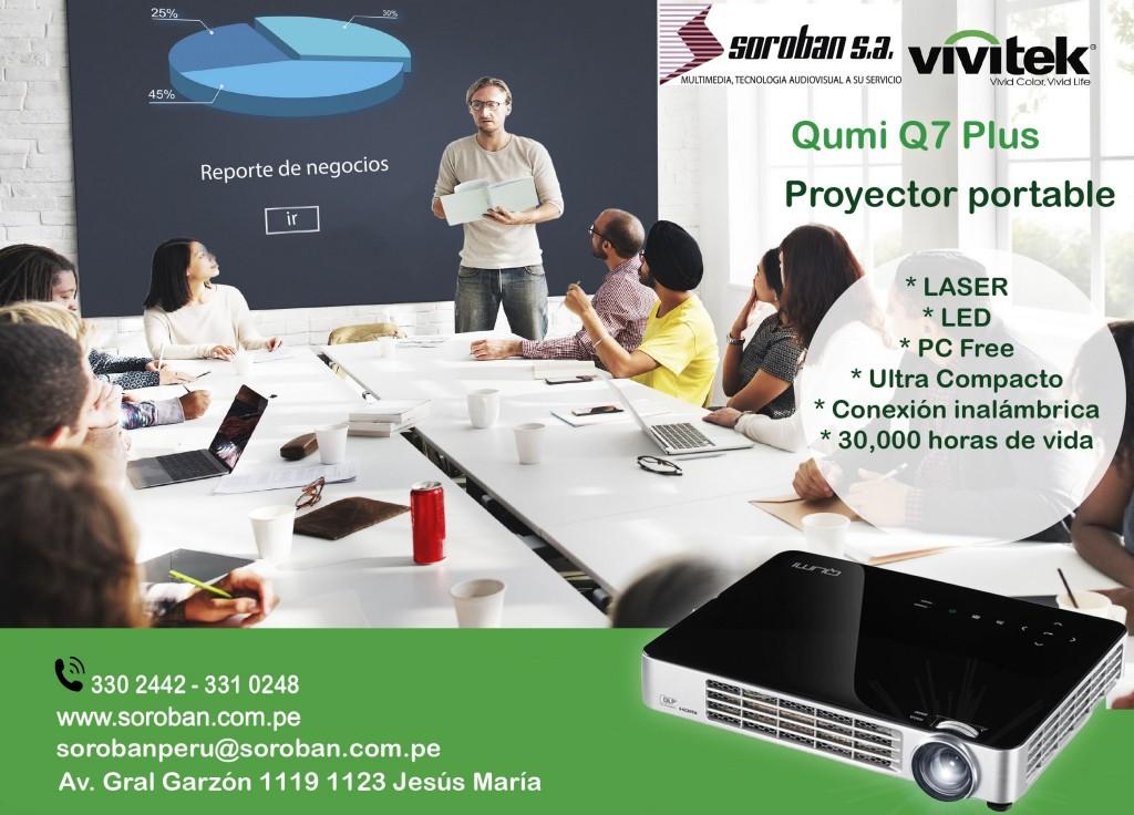 Qumi Q7 Plus – Proyector Portable Láser LED PC-Free Inalámbrico