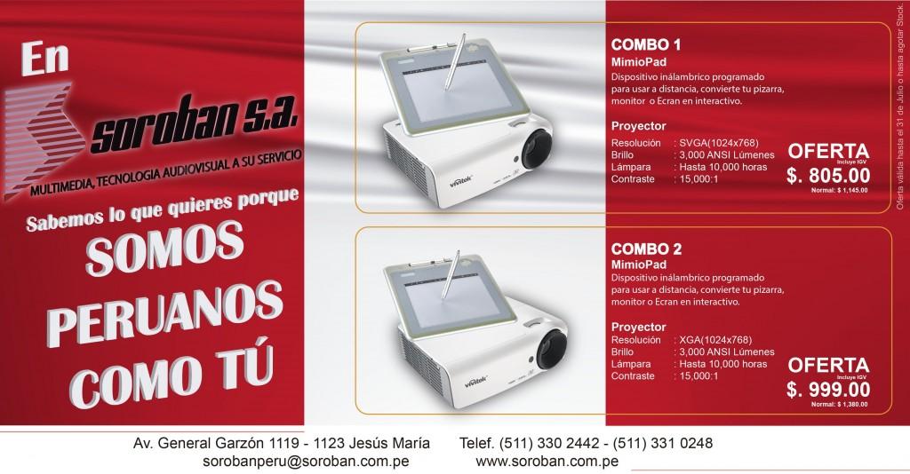 Combo Proyector Interactivo Por Fiestas Patrias: Proyector Multimedia + MimioPad