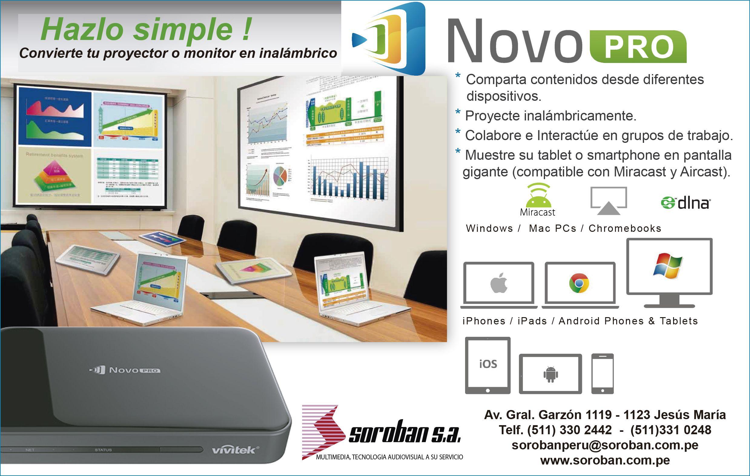 Hazlo Simple con NovoPro! Convierte tu proyector o monitor en inalámbrico