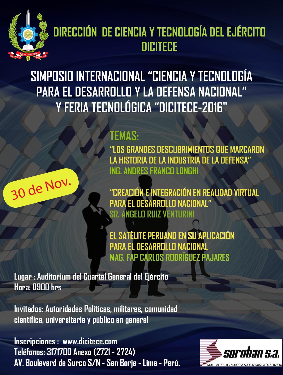 """Simposio Internacional """"Ciencia y Tecnología para el Desarrollo y la Defensa Nacional"""" y Feria Tecnológica DICITECE-2016"""