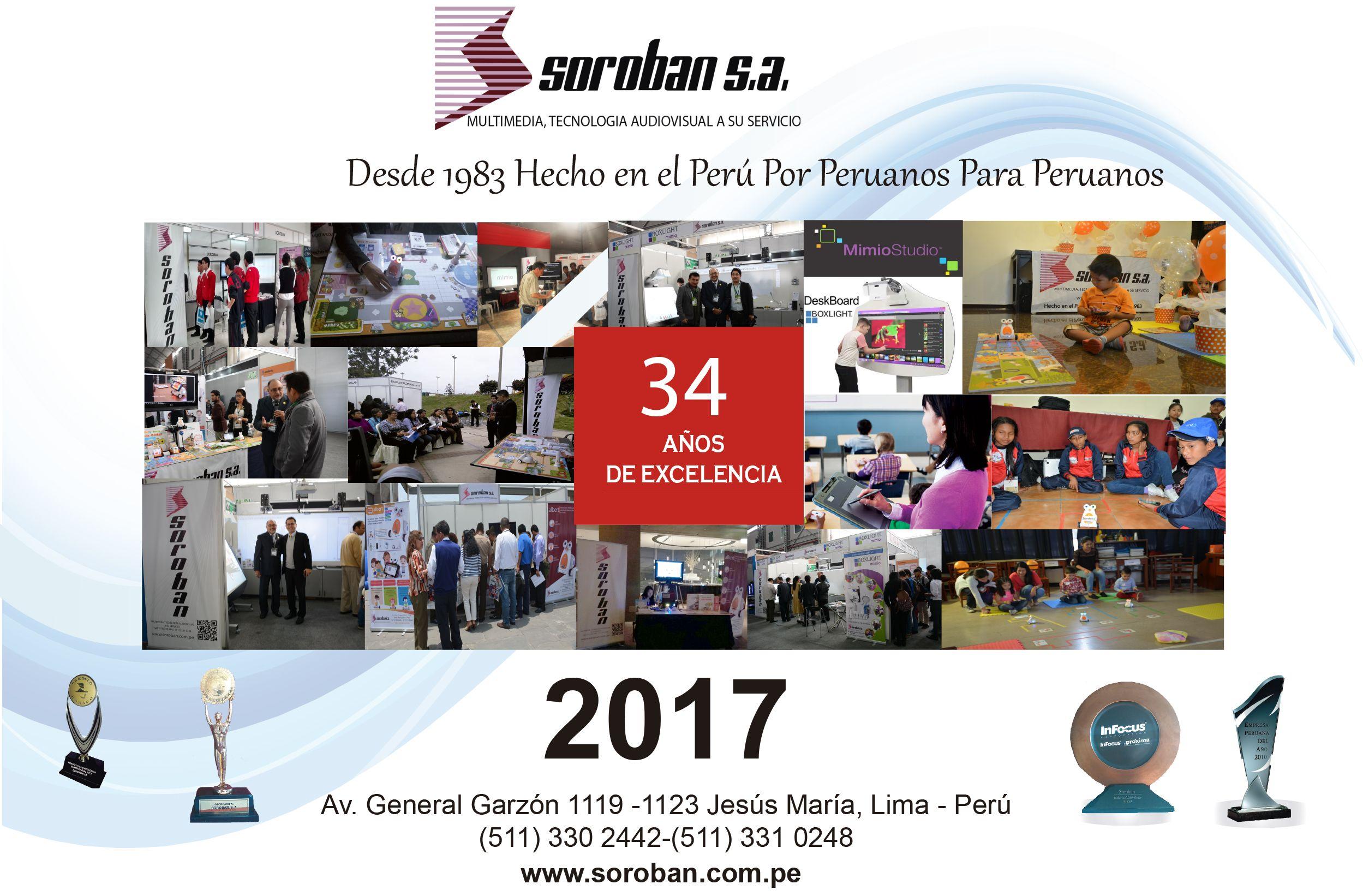 Felíz 34 Aniversario de Soroban S.A, Líderes en la Industria Audiovisual e Interactiva del Perú