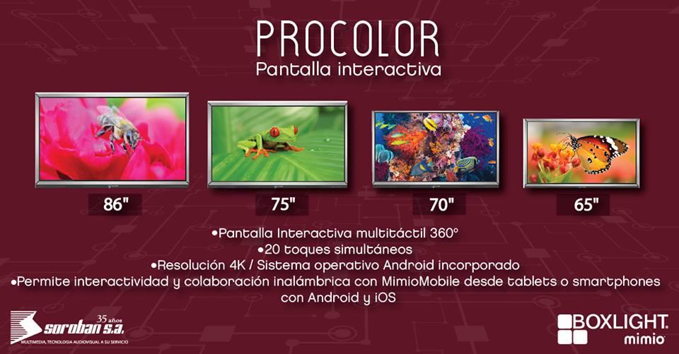 """Procolor: Pantallas Interactivas 4K de 65"""", 70"""", 75"""" y 86"""""""