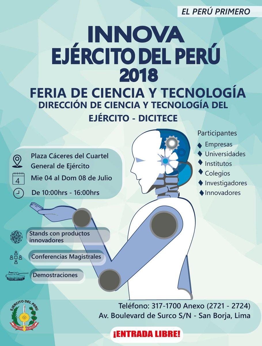 """Feria de Ciencia y Tecnología """"Innova Ejército del Perú 2018"""